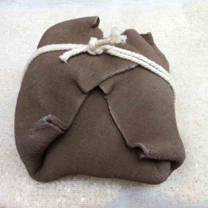 Ballot japonais - terre cuite brune et corde coton 12x12cm
